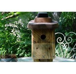 Nichoir en bois recyclés pour oiseaux 32 mm-bois recyclés-toit plat