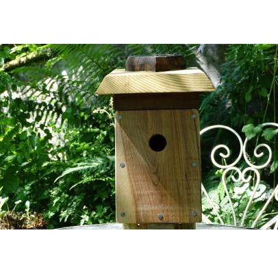 Nichoir en bois recyclés pour oiseaux-28 mm-toit plat