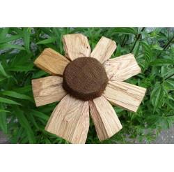 """Fleurs en bois recyclés du jardin des lutins """"coeur chocolat"""""""