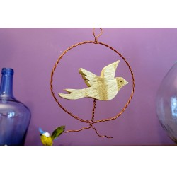 Médaillons décoratifs d'oiseaux en bois recyclés à suspendre