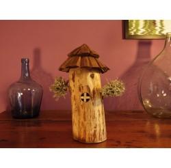 """Boite en bois recyclé, lichen """"maison de lutins""""-artisanale"""
