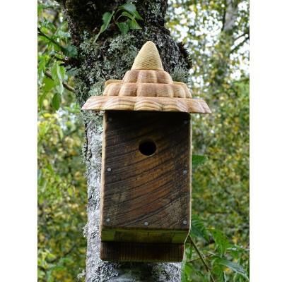 Nichoir à oiseaux - boite à oiseaux- accès 27mm bois recyclés